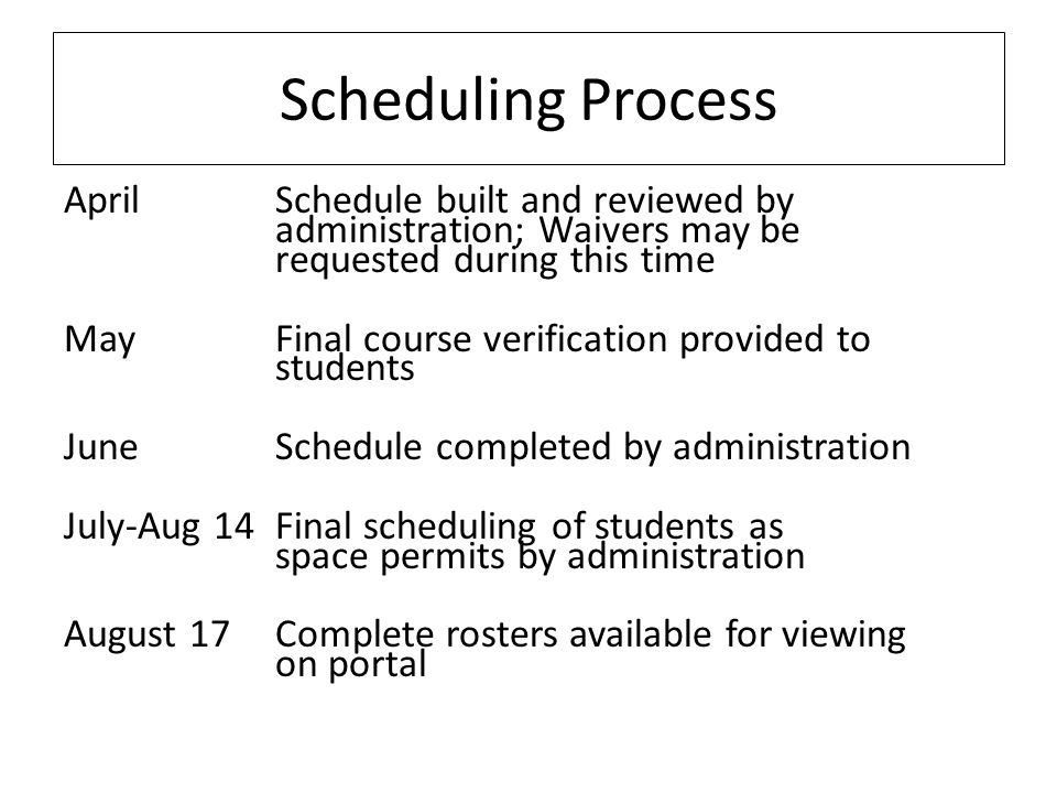 April Schedule built and reviewed by administration; Waivers may be requested during this time MayFinal course verification provided to students June Schedule completed by administration July-Aug 14Final scheduling of students as space permits by administration August 17Complete rosters available for viewing on portal Scheduling Process