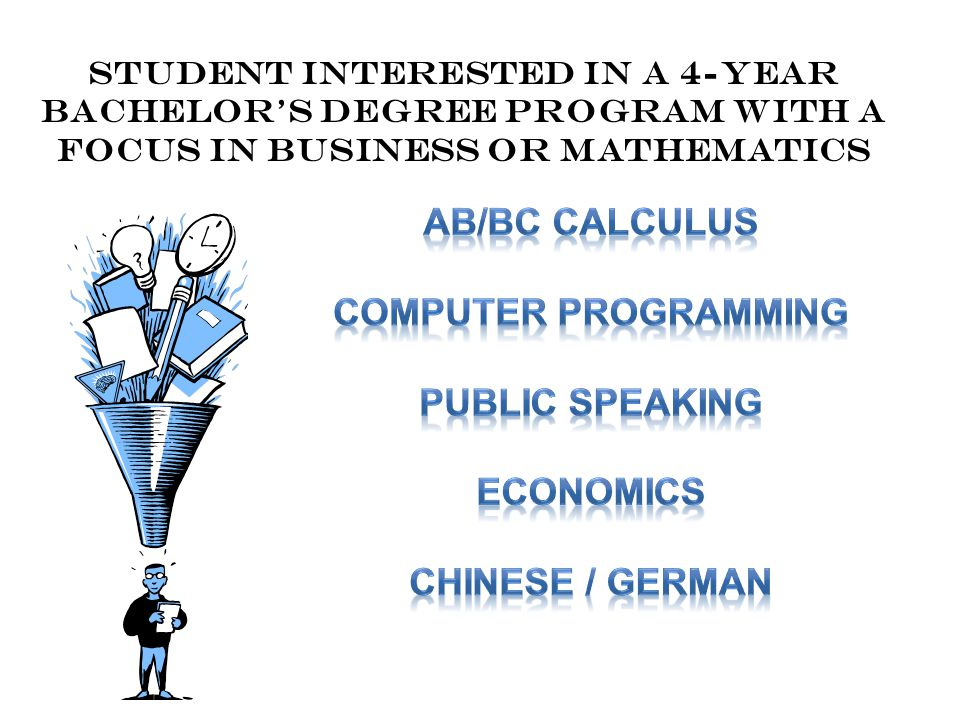 Student interested in A 4-year Bachelor's Degree program with a focus in business or mathematics