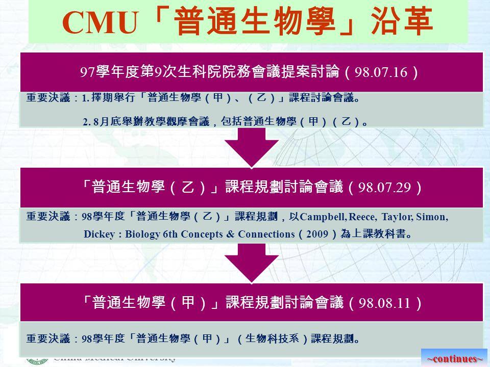 CMU 「普通生物學」沿革 99 學年度第 2 次普通生物學課程會議( 100.05.04 ) 重要決議: 1.