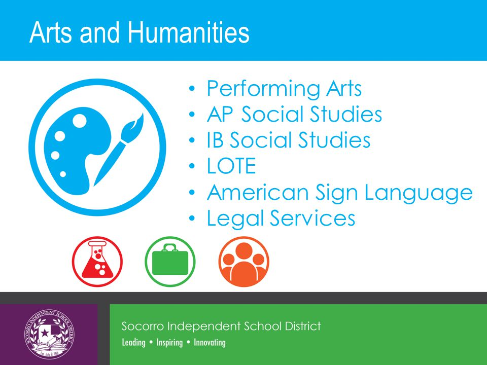 Arts and Humanities Performing Arts AP Social Studies IB Social Studies LOTE American Sign Language Legal Services
