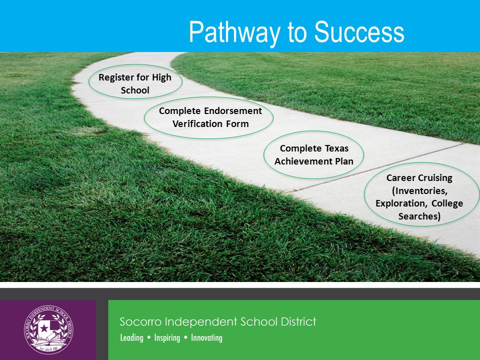 Pathway to Success Complete Texas Achievement Plan Complete Endorsement Verification Form Register for High School Career Cruising (Inventories, Exploration, College Searches)