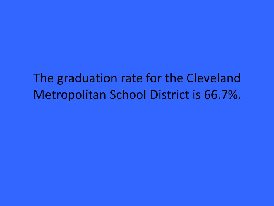 The graduation rate for the Cleveland Metropolitan School District is 66.7%.