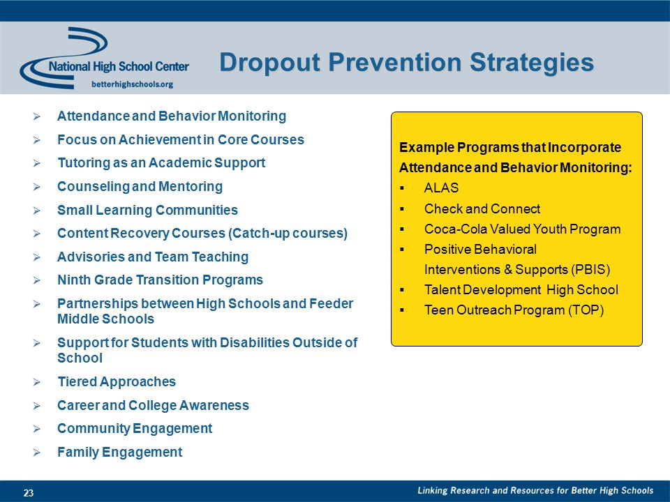 23 Dropout Prevention Strategies Example Programs that Incorporate Attendance and Behavior Monitoring:  ALAS  Check and Connect  Coca-Cola Valued Youth Program  Positive Behavioral Interventions & Supports (PBIS)  Talent Development High School  Teen Outreach Program (TOP)  Attendance and Behavior Monitoring  Focus on Achievement in Core Courses  Tutoring as an Academic Support  Counseling and Mentoring  Small Learning Communities  Content Recovery Courses (Catch-up courses)  Advisories and Team Teaching  Ninth Grade Transition Programs  Partnerships between High Schools and Feeder Middle Schools  Support for Students with Disabilities Outside of School  Tiered Approaches  Career and College Awareness  Community Engagement  Family Engagement
