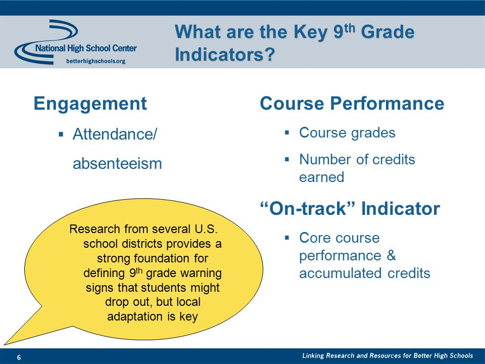 6 What are the Key 9 th Grade Indicators.