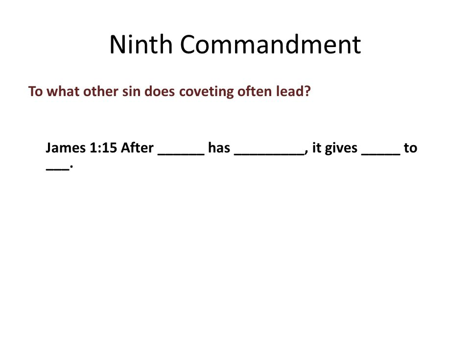 To what other sin does coveting often lead.