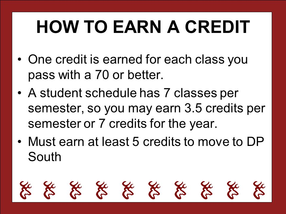 HOW TO EARN A CREDIT One credit is earned for each class you pass with a 70 or better. A student schedule has 7 classes per semester, so you may earn