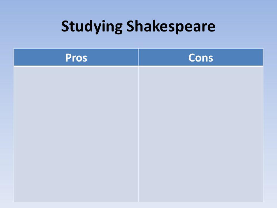 Studying Shakespeare ProsCons