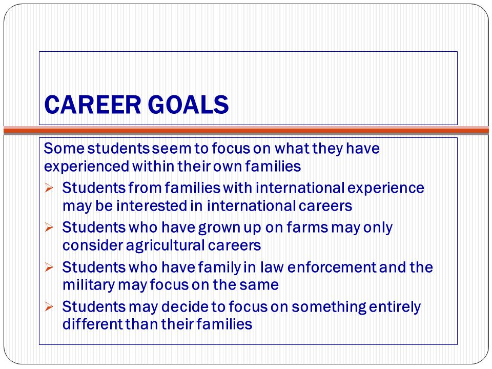 CAREER GOALS Some students seem to focus on what they have experienced within their own families  Students from families with international experienc