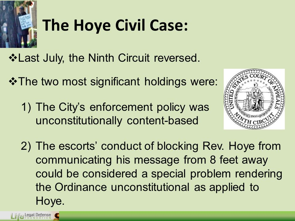 The Hoye Civil Case:  Last July, the Ninth Circuit reversed.