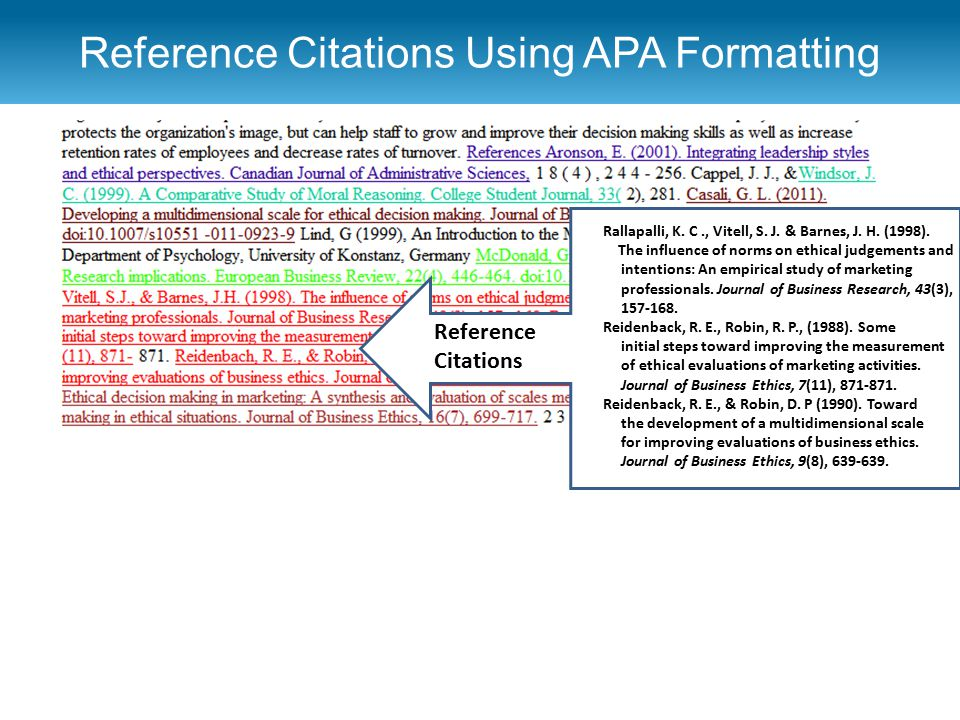 Reference Citations Using APA Formatting r Rallapalli, K. C., Vitell, S. J. & Barnes, J. H. (1998). The influence of norms on ethical judgements and i