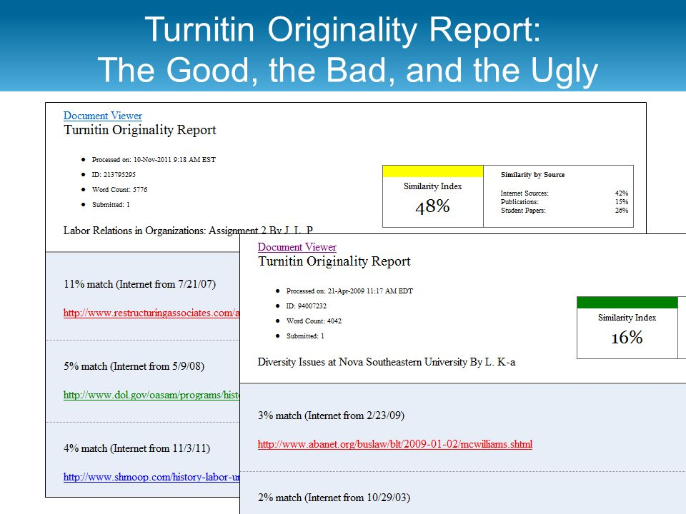 Turnitin Originality Report: The Good, the Bad, and the Ugly