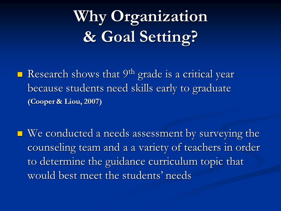 Why Organization & Goal Setting.