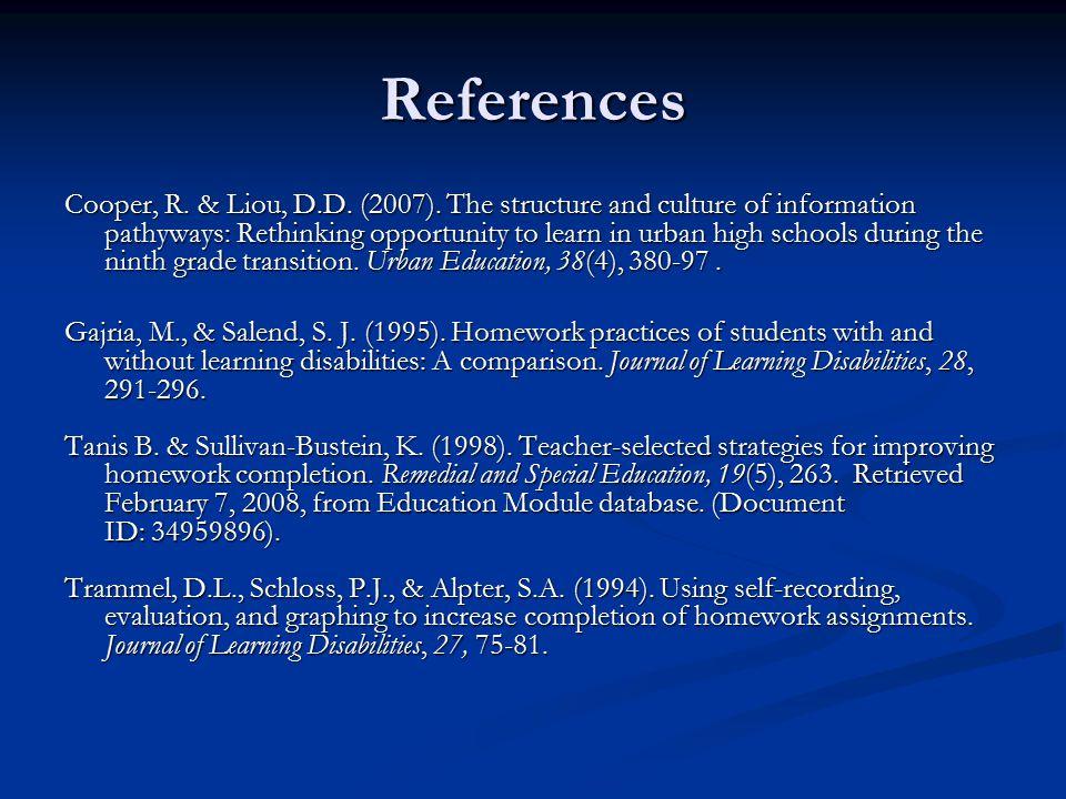 References Cooper, R. & Liou, D.D. (2007).