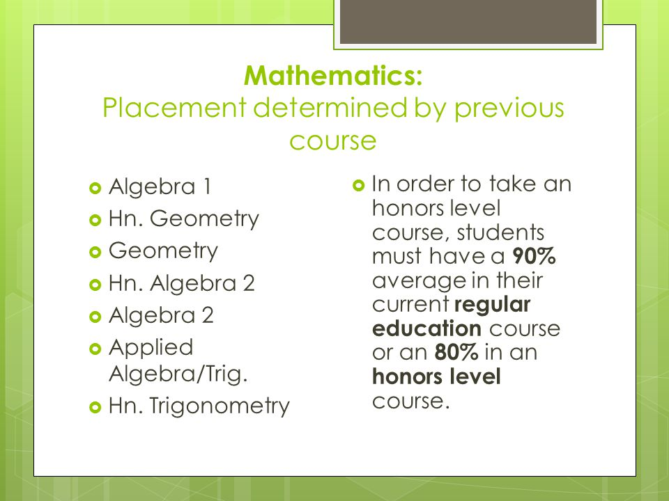 Mathematics: Placement determined by previous course  Algebra 1  Hn.