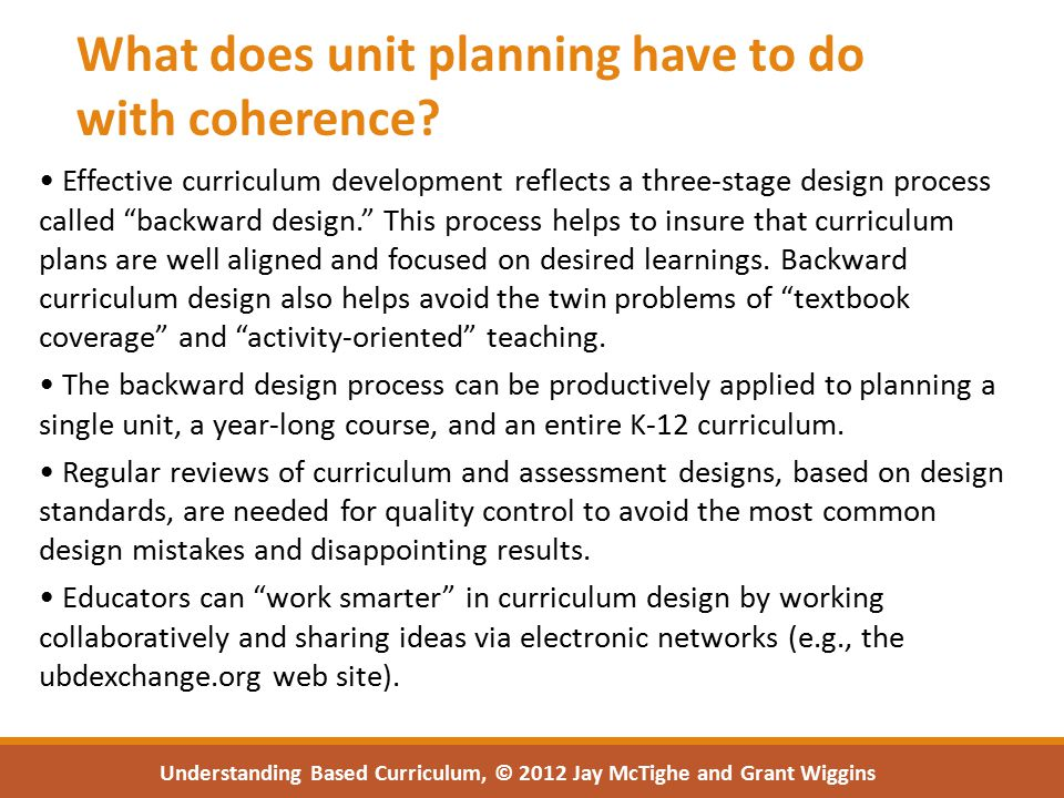 What does unit planning have to do with coherence.