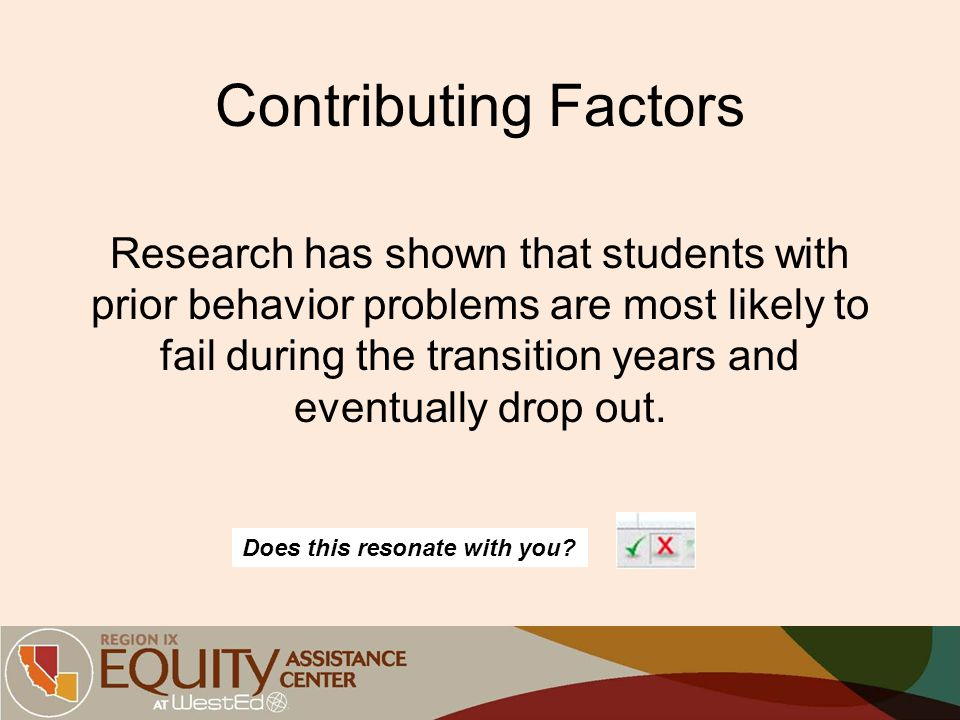 Contributing Factors Research has shown that students with prior behavior problems are most likely to fail during the transition years and eventually