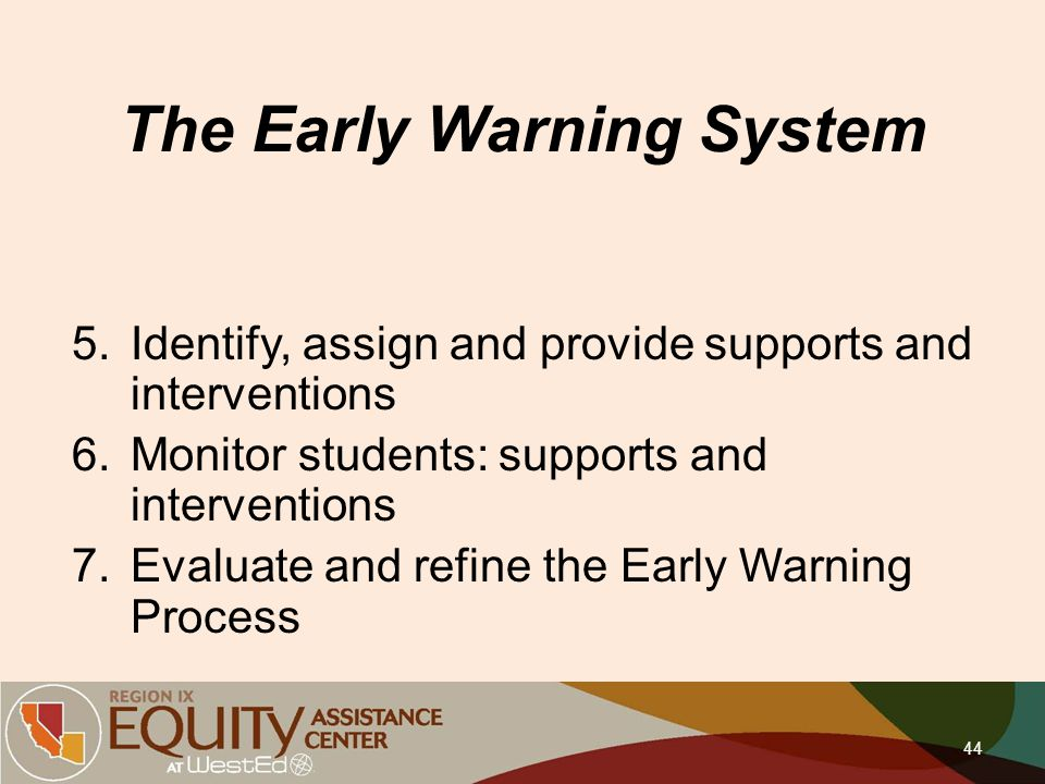 The Early Warning System 5.Identify, assign and provide supports and interventions 6.Monitor students: supports and interventions 7.Evaluate and refin