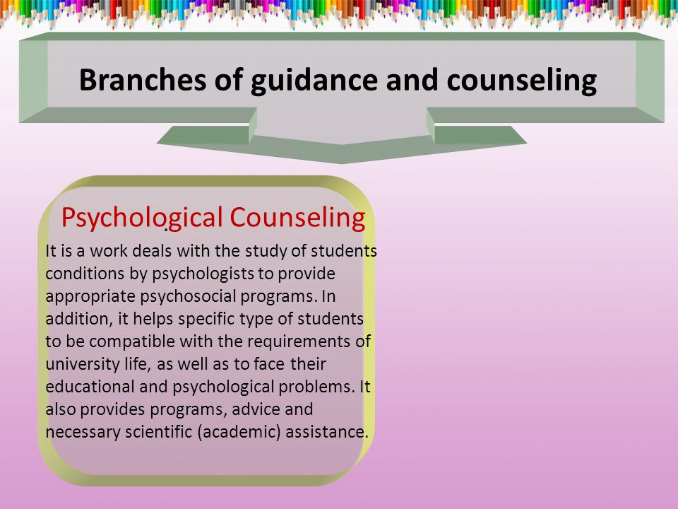 Branches of guidance and counseling Psychological Counseling It is a work deals with the study of students conditions by psychologists to provide appropriate psychosocial programs.