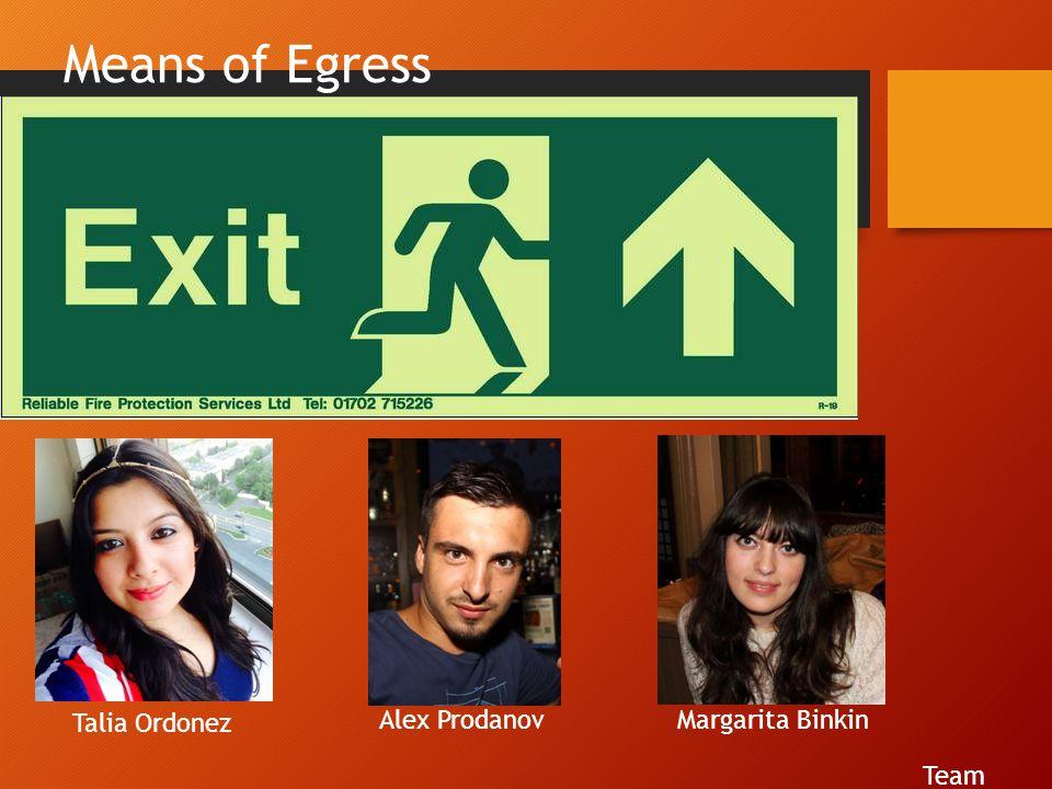 Means of Egress Team Talia Ordonez Alex ProdanovMargarita Binkin