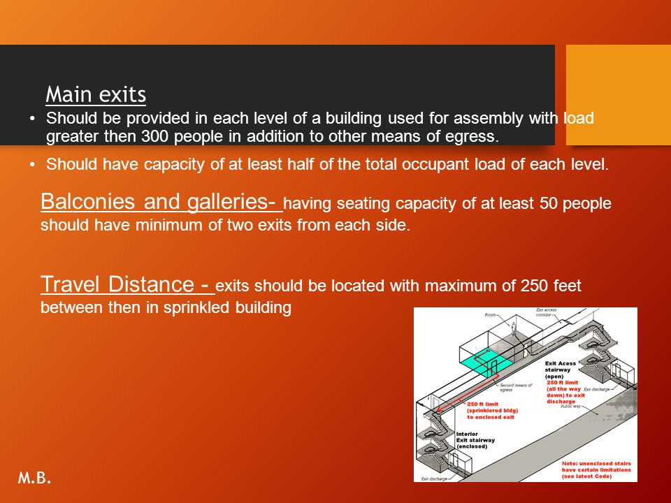 Main exits Should be provided in each level of a building used for assembly with load greater then 300 people in addition to other means of egress. Sh