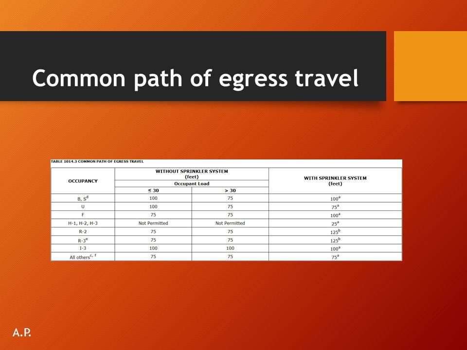 Common path of egress travel A.P.