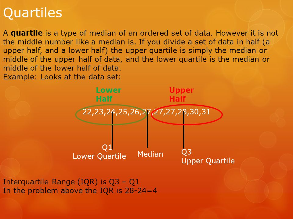 Quartiles A quartile is a type of median of an ordered set of data.