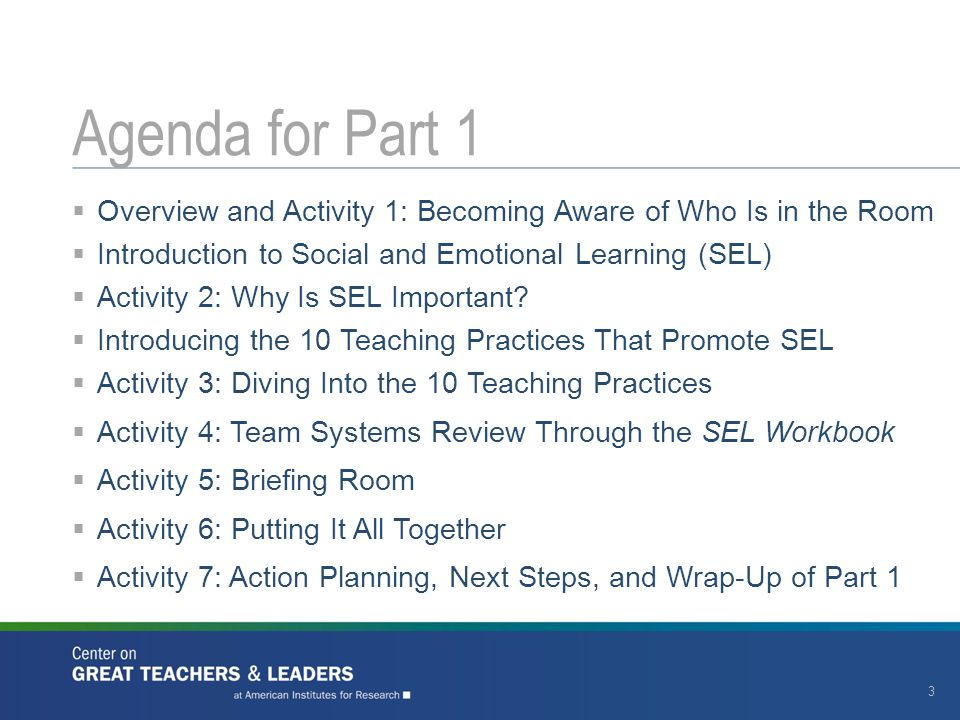  Overview and Activity 1: Becoming Aware of Who Is in the Room  Introduction to Social and Emotional Learning (SEL)  Activity 2: Why Is SEL Importa