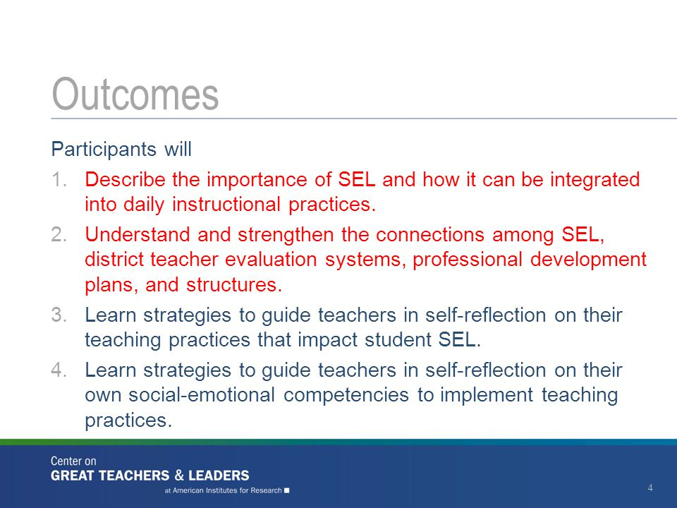 Participants will 1.Describe the importance of SEL and how it can be integrated into daily instructional practices. 2.Understand and strengthen the co