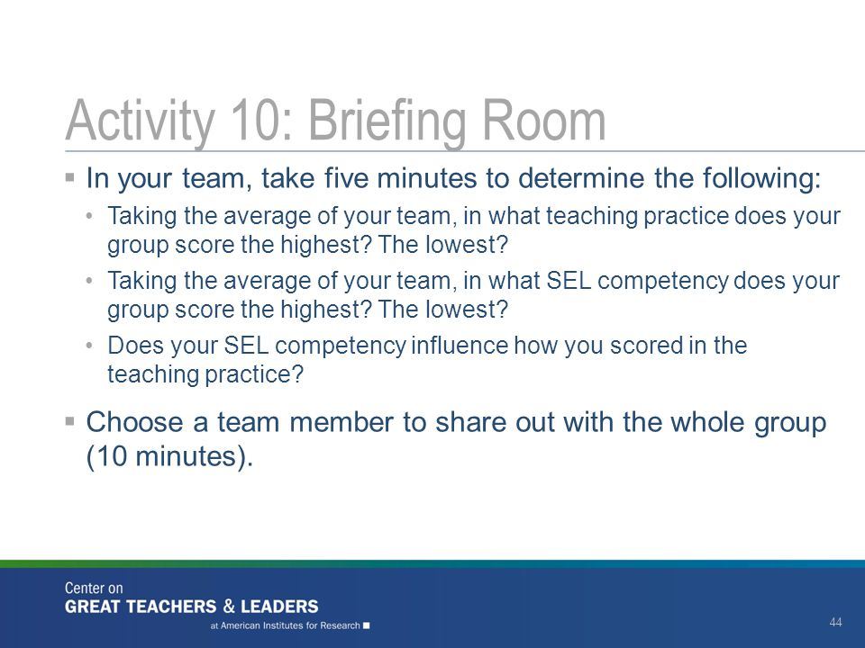  In your team, take five minutes to determine the following: Taking the average of your team, in what teaching practice does your group score the hig