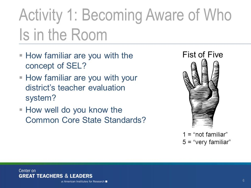  How familiar are you with the concept of SEL?  How familiar are you with your district's teacher evaluation system?  How well do you know the Comm