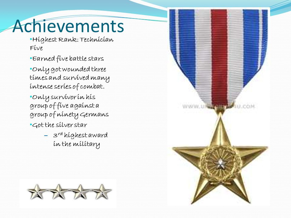 Achievements Highest Rank: Technician Five Earned five battle stars Only got wounded three times and survived many intense series of combat.