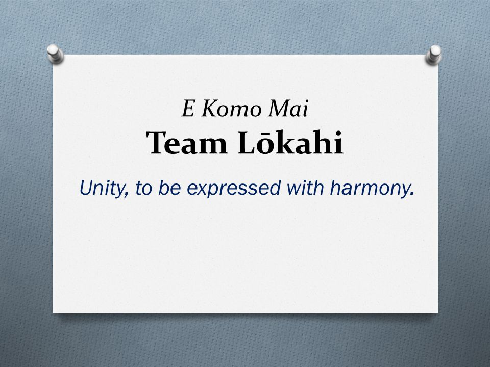 E Komo Mai Team Lōkahi Unity, to be expressed with harmony.
