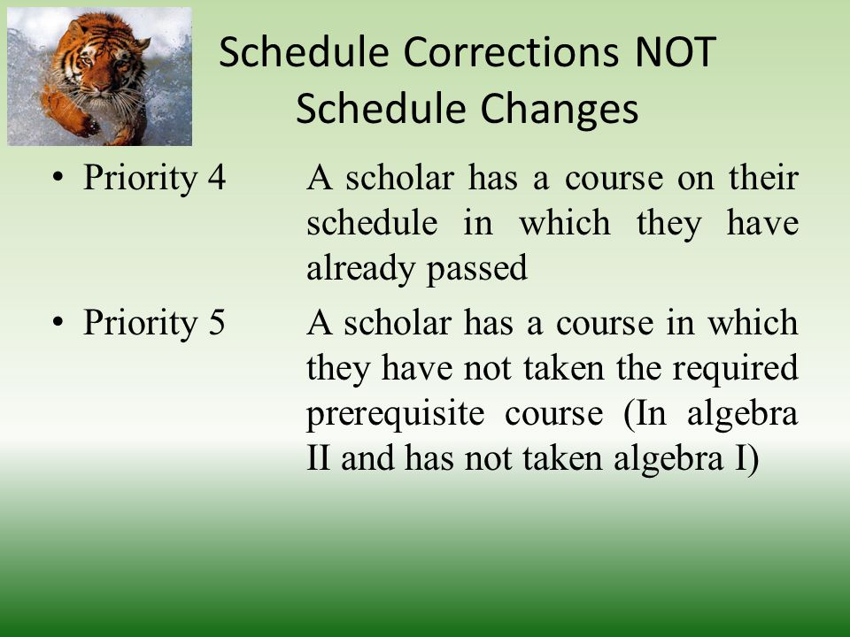 Schedule Corrections NOT Schedule Changes Priority 1Enrolling and scheduling NEW scholars to our school Priority 2A Scholar who has a hole or a missing class in their schedule Priority 3A Scholar who is a senior and needs a course to graduate
