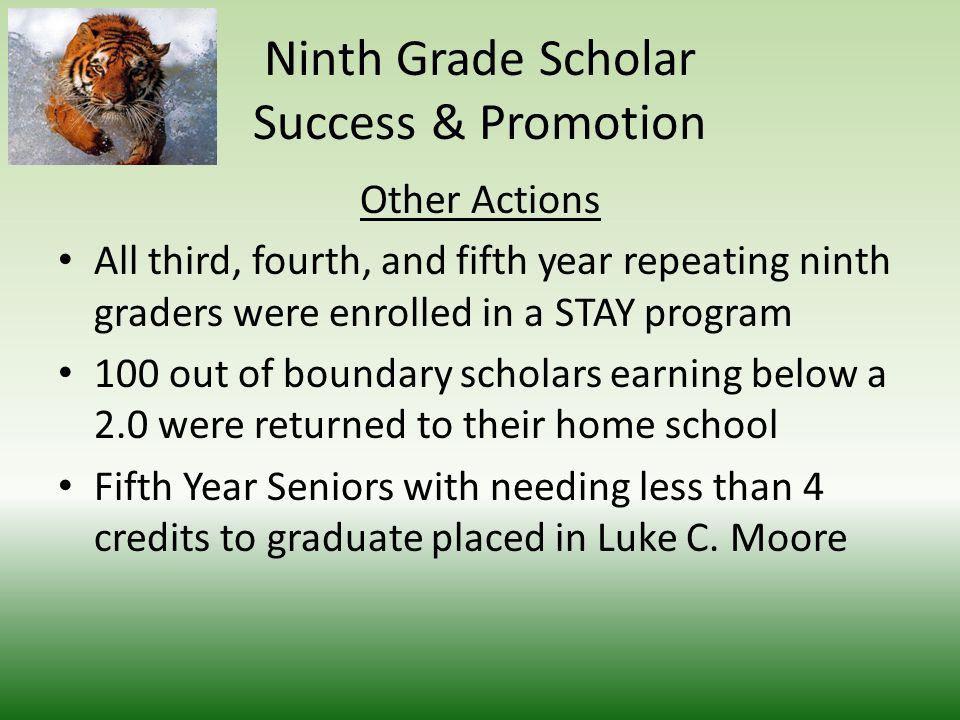 Ninth Grade Scholar Success & Promotion Financial Support Extracurricular Activities$15,000 Extended Day Program$50,000 Saturday Academies$20,000 Field Trips$10,000