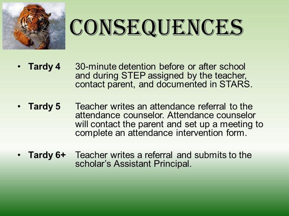 Consequences Tardy 1Warning by the teacher and documented in STARS.