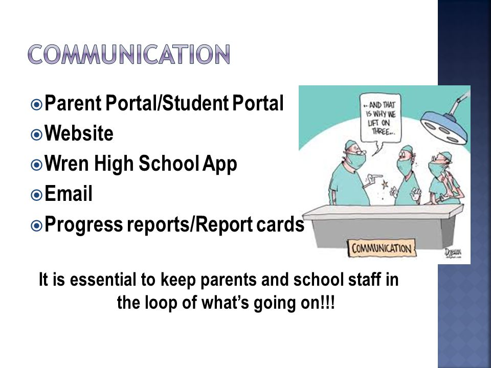  Parent Portal/Student Portal  Website  Wren High School App  Email  Progress reports/Report cards It is essential to keep parents and school staff in the loop of what's going on!!!
