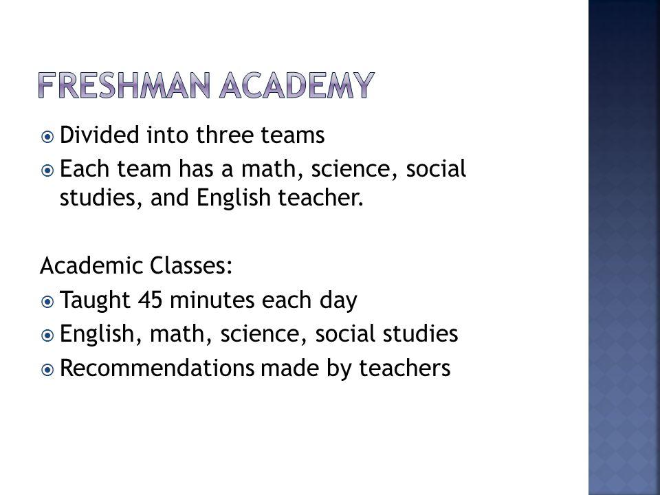  Divided into three teams  Each team has a math, science, social studies, and English teacher.