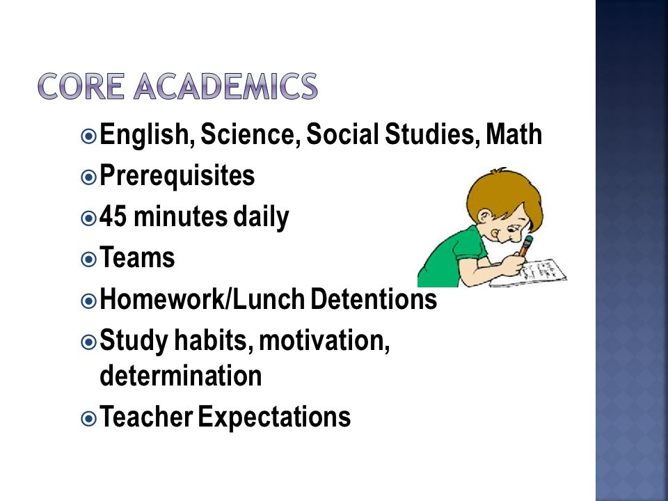  English, Science, Social Studies, Math  Prerequisites  45 minutes daily  Teams  Homework/Lunch Detentions  Study habits, motivation, determination  Teacher Expectations