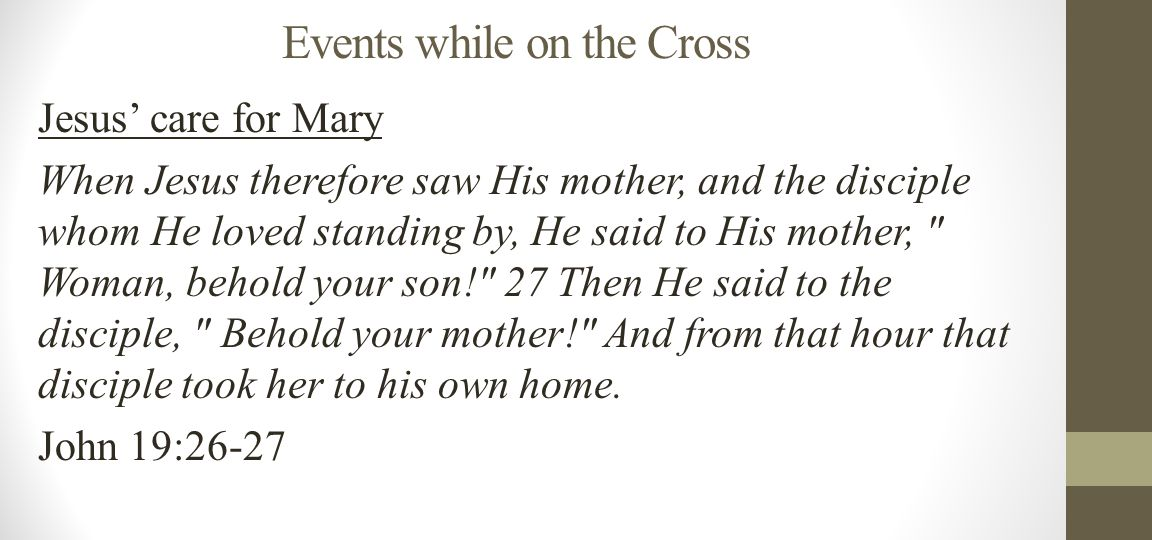 Events while on the Cross Jesus' care for Mary When Jesus therefore saw His mother, and the disciple whom He loved standing by, He said to His mother, Woman, behold your son! 27 Then He said to the disciple, Behold your mother! And from that hour that disciple took her to his own home.