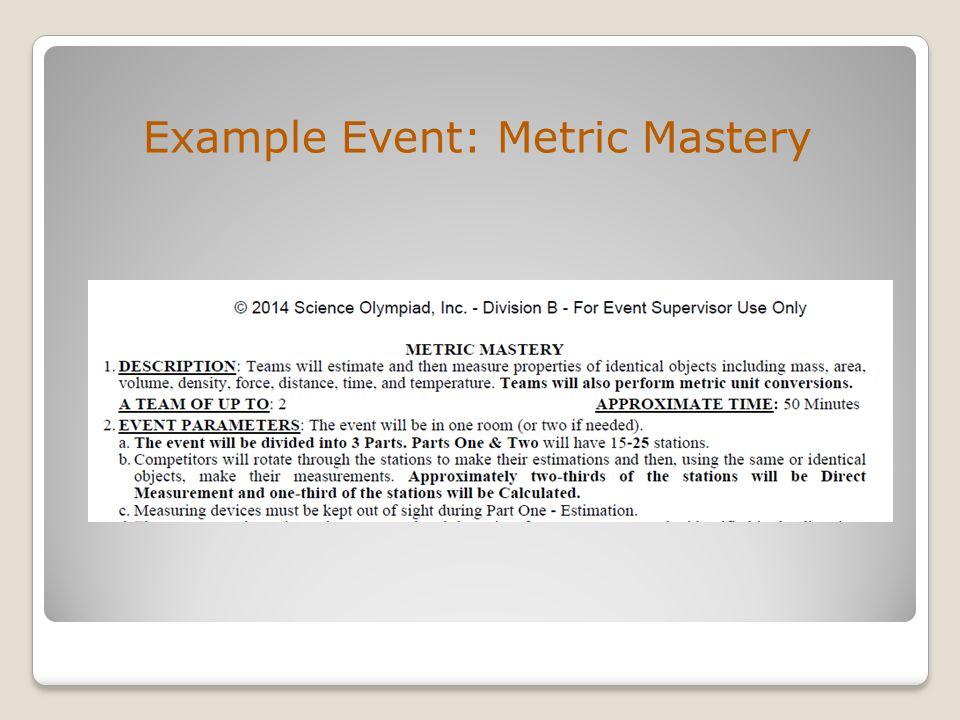 Example Event: Metric Mastery