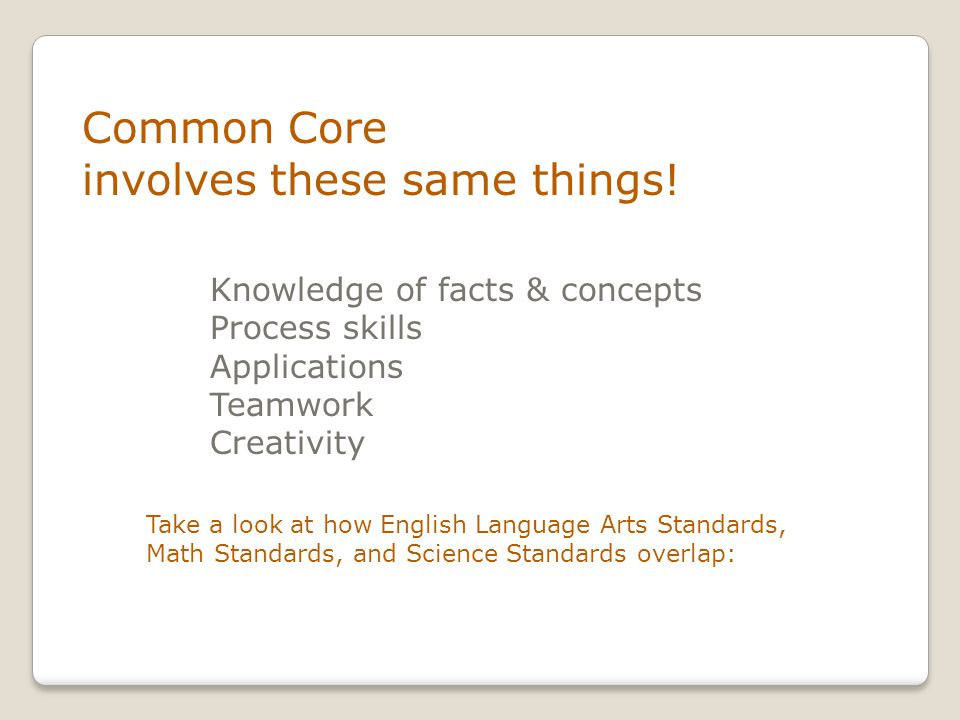 Common Core involves these same things.