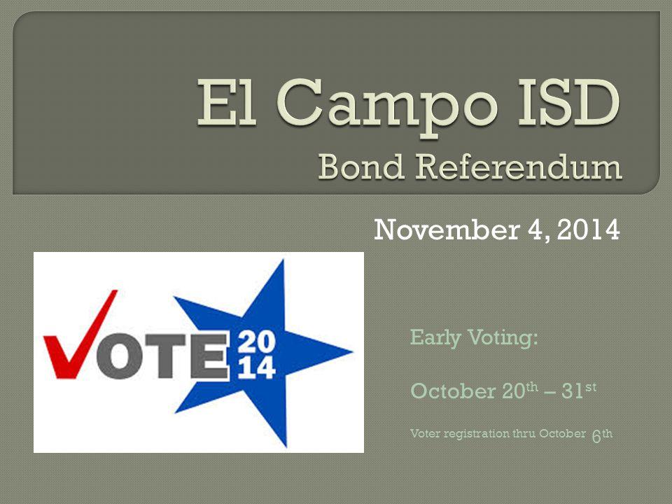 November 4, 2014 Early Voting: October 20 th – 31 st Voter registration thru October 6 th