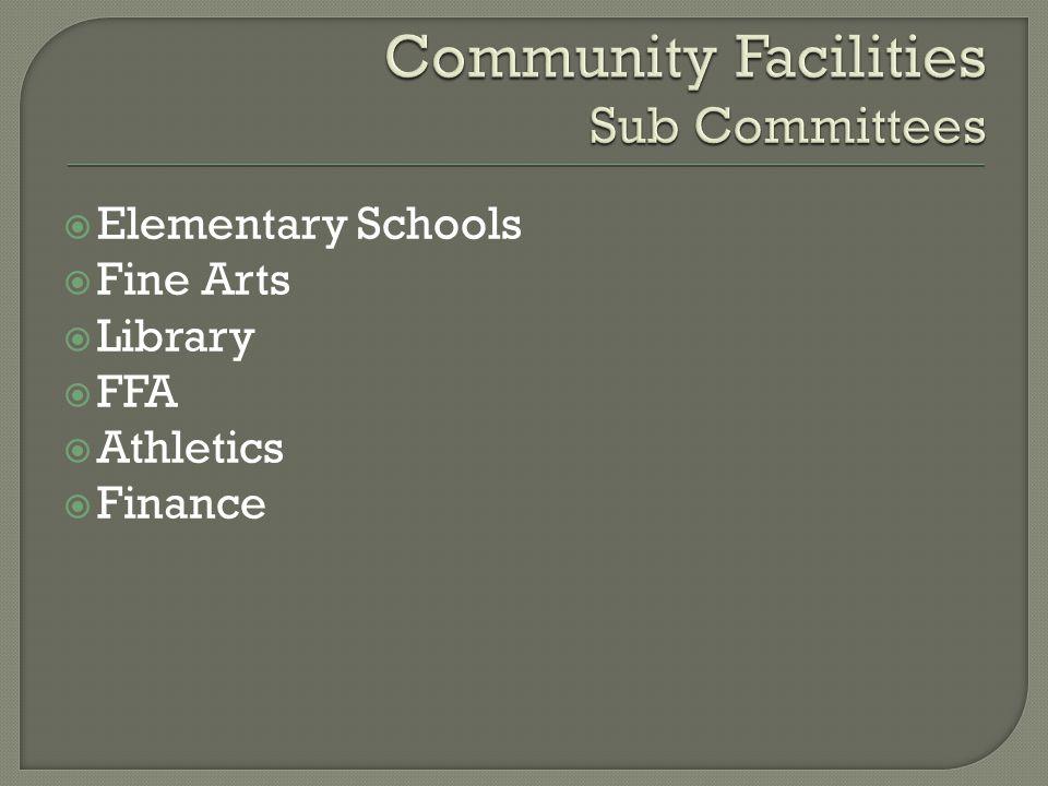  Elementary Schools  Fine Arts  Library  FFA  Athletics  Finance