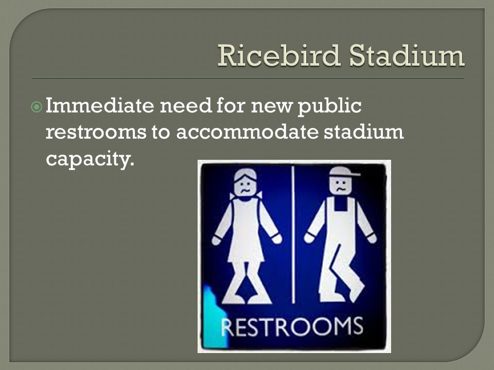  Immediate need for new public restrooms to accommodate stadium capacity.