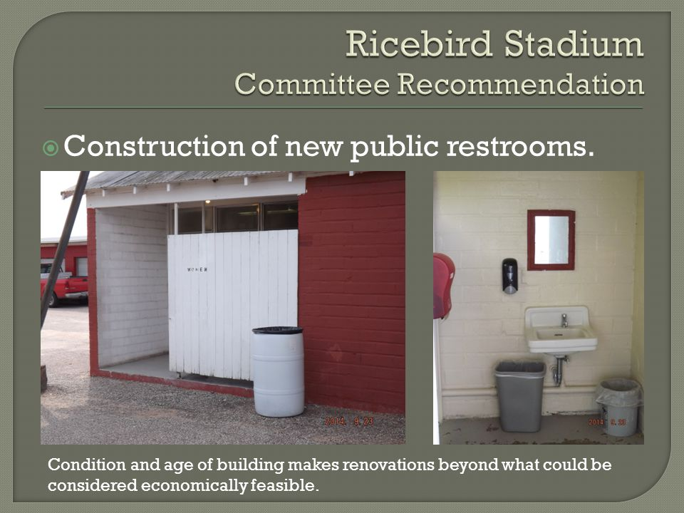  Construction of new public restrooms.