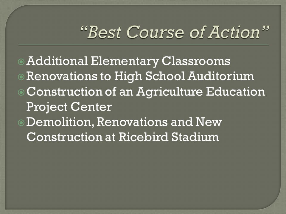  Additional Elementary Classrooms  Renovations to High School Auditorium  Construction of an Agriculture Education Project Center  Demolition, Renovations and New Construction at Ricebird Stadium
