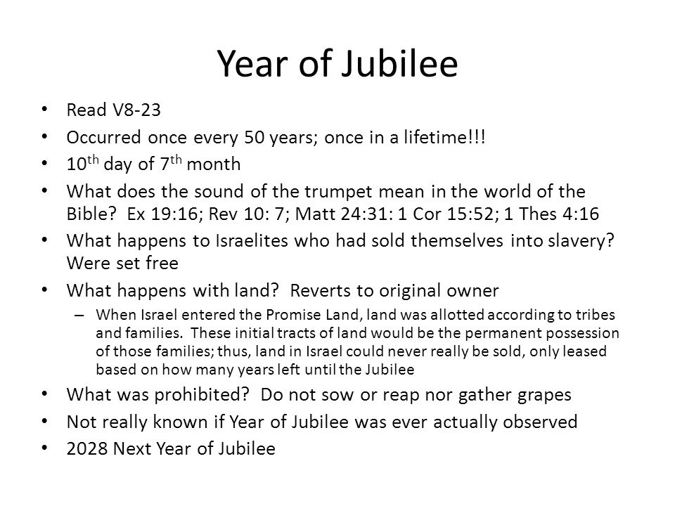 Year of Jubilee V18-22 How will God provide provision during year of Jubilee.