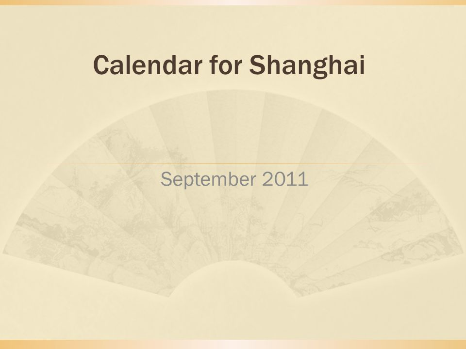 Calendar for Shanghai September 2011