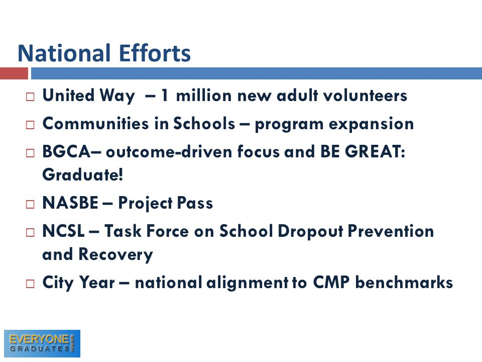  United Way – 1 million new adult volunteers  Communities in Schools – program expansion  BGCA– outcome-driven focus and BE GREAT: Graduate.