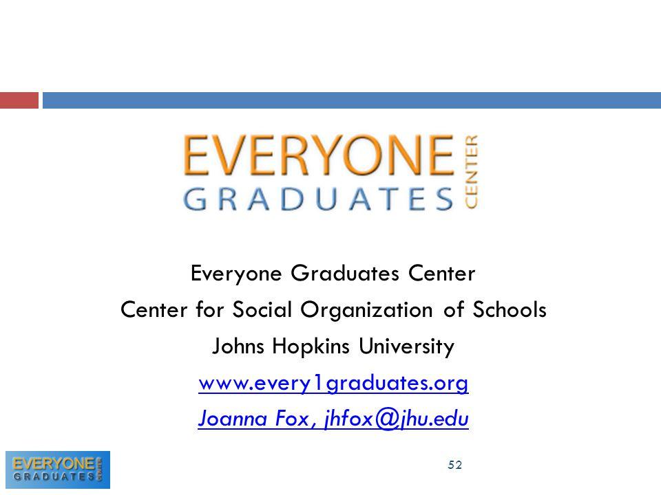 52 Everyone Graduates Center Center for Social Organization of Schools Johns Hopkins University www.every1graduates.org Joanna Fox, jhfox@jhu.edu